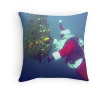 Scuba Santa Throw Pillow