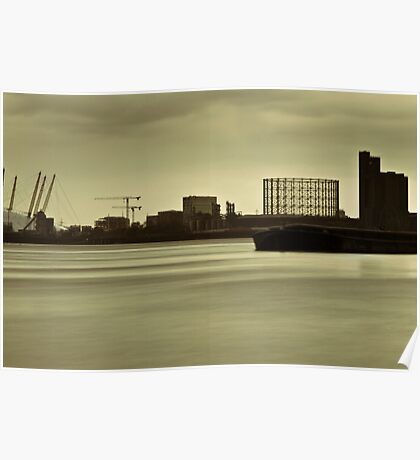 River Thames in winter at Greenwich Poster