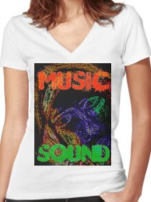 Music Sound Women's Fitted V-Neck T-Shirt