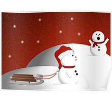 Snowman Sled Poster