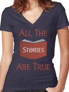 All The Stories Are True Shadowhunters City of Bones Cassandra Clare Quote Typography Women's Fitted V-Neck T-Shirt