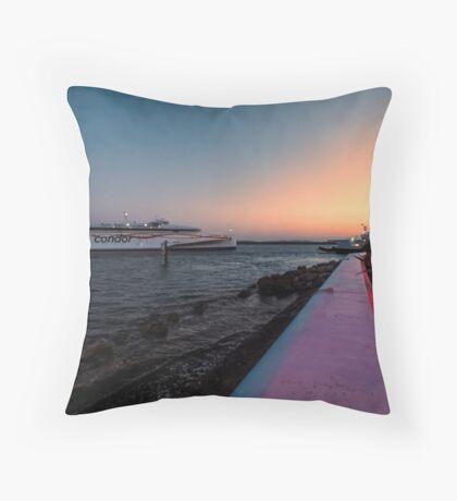 Condor ferry at sunset  Throw Pillow