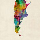 Argentina Watercolor Map by Michael Tompsett