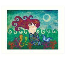 Moonface Mermaid Art Print