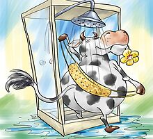 Cow in the Shower by Konstantinas
