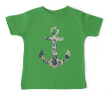 Blue Floral Anchor Baby Tee