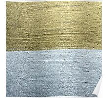 Elegant Luxurious Faux Gold & Silver Paint Strokes Poster