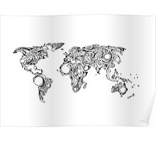 World Map Swirls (Sworld) - White Background Poster