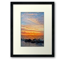 yellow sunset and soft water at beal beach Framed Print