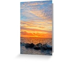 yellow sunset and soft water at beal beach Greeting Card
