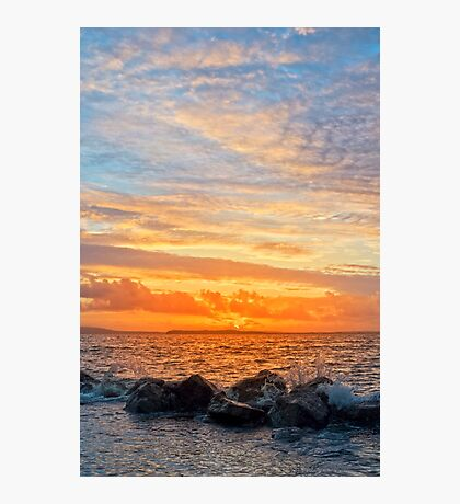 yellow sunset and soft water at beal beach Photographic Print