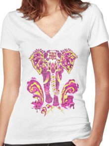 Apocalypse elephant Women's Fitted V-Neck T-Shirt