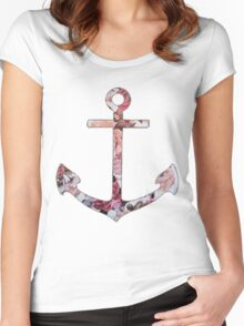 Floral Anchor 5 Women's Fitted Scoop T-Shirt