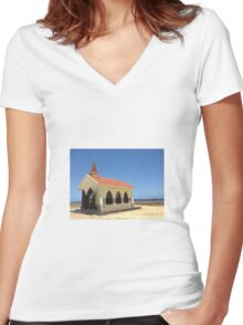 Church on the Beach Women's Fitted V-Neck T-Shirt