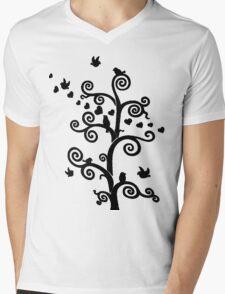 Love Birds - Black Image Mens V-Neck T-Shirt