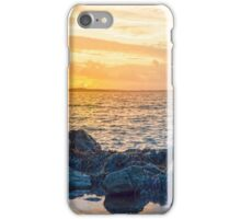 yellow sunset and soft waves at beal rocky beach iPhone Case/Skin