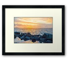 yellow sunset and soft waves at beal rocky beach Framed Print