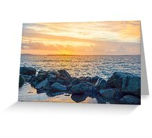 yellow sunset and soft waves at beal rocky beach Greeting Card