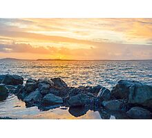 yellow sunset and soft waves at beal rocky beach Photographic Print
