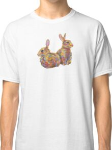 Common rabbits on blank background Classic T-Shirt