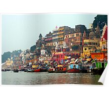 Dawn on the Ganges Ghats Varanasi, India Poster
