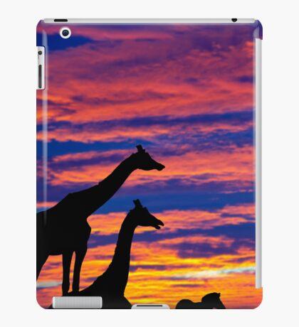 zebra and giraffes resting in the sunset iPad Case/Skin