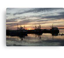 Fishing boats at dusk Canvas Print