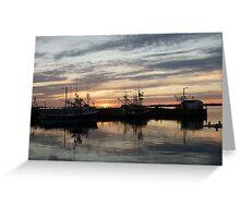 Fishing boats at dusk Greeting Card