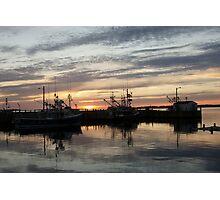 Fishing boats at dusk Photographic Print