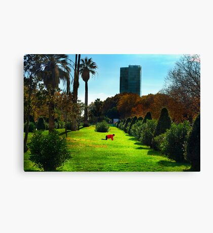 Stretching at Parc de la Ciutadella, Barcelona Canvas Print