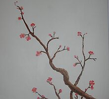 Cherry Blossom Branch 11x14 Acrylic on canvas by boocifer
