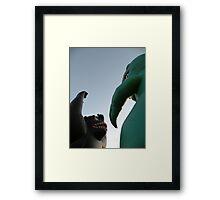 a battle of giants, kong-vs-'zilla Framed Print
