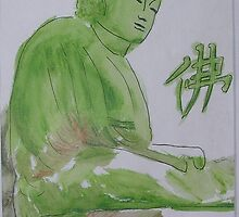 Green Buddha Water color on paper 5x7 by boocifer