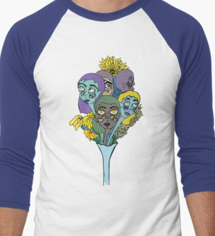 Ghostly Figures and Flowers 4 Men's Baseball ¾ T-Shirt