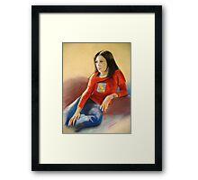 Pastel Portrait of Hannah Framed Print