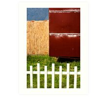 White fence abstract Art Print