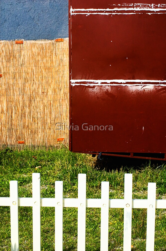 White fence abstract by Silvia Ganora