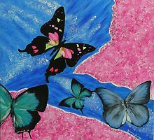 '' BUTTERFLY  FLUTTERBY '' HAND PAINTED IN ACRYLIC PAINT'S by lozzy65