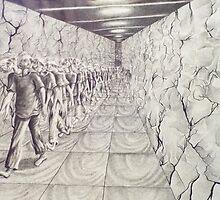hallway pacer. 11''x14''. graphite on paper. adam sturch. by adam sturch