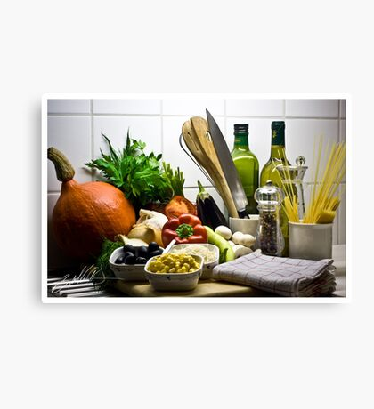 Kitchen Still Life with Pumpkin, Corn and other items Canvas Print