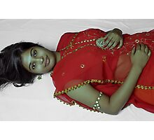Beauty in Red Sari Photographic Print