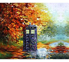 Autumn British Blue phone box painting Photographic Print