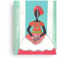 Baiana from Brazil holding flowers Canvas Print