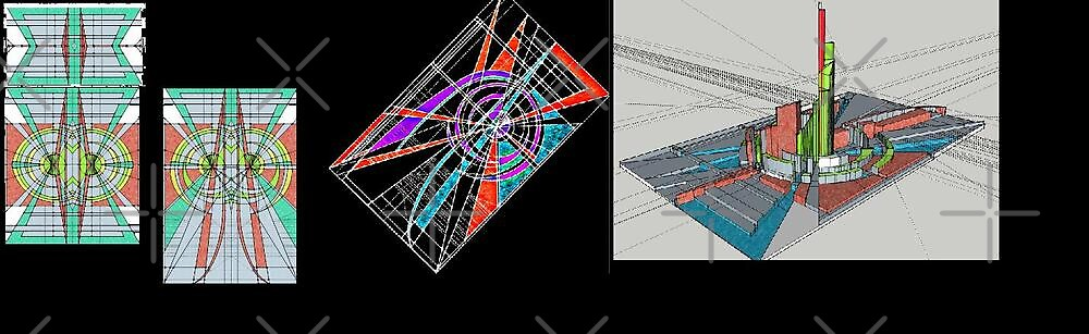 collage of sketchup and stained glass studies by don quackenbush