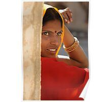 Woman in Orange, Amber Fort, Jaipur, India 2009 Poster