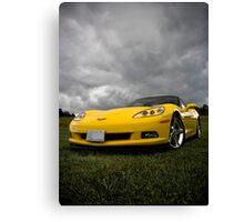 Yellow Photography Transportation Car Corvette C6 mellow Canvas Print