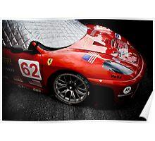 Red Photography Automotive Ferrari F430GT Race Car Grid Poster