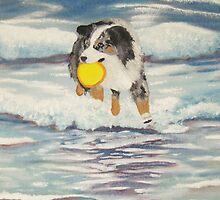 YIPPEE!!! ~ Australian Shepherd ~ Oil Painting  by Barbara Applegate