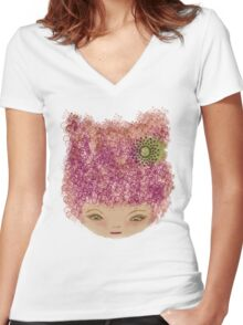 pink doll Women's Fitted V-Neck T-Shirt