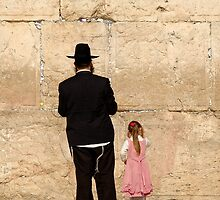 Dad and daughter at the Wailing Wall, Jerusalem by Peter Mulligan